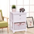 2 Tiers Wood Nightstand w/ 1 Drawer and 1 Basket