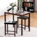 3 pcs Counter Height Faux Marble Dining Set