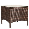 5 Pcs Patio Rattan Sofa Ottoman Furniture Set with Cushions