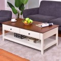 Rectangle Wood Coffee Table with Drawer & Storage Shelf