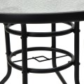 """32"""" Patio Tempered Glass Steel Frame Round Table with Convenient Umbrella Hole"""