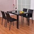 Set of 4 PU Leather Armless Dining Chairs