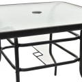"""31 1/2"""" Patio Tempered Glass Steel Frame Square Table"""