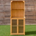 Wooden Potting Bench Outdoor Storage Cabinet