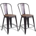 Copper Barstool Set of 2 Metal Wood Counter Chairs with Wood Top and High Backrest