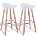 Set of 2 ABS Bar Stool with Wooden Legs