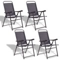 Set of 4 Folding Sling Chairs with Armrest