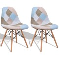 2 pcs Armless Fabric Upholstered Dining Chairs with Wooden Legs