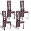 Set of 4 Steel Frame High Back Armless Dining Chairs