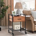 2-Tier End Coffee Living Room Table with Drawer & Wheels