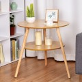 2-Tier Round End Coffee Table with Wooden Legs