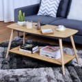 Rectangle Coffee Table with Solid Wooden Legs and Storage Shelf