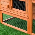 Two-Story Wooden Rabbit Hutch Pet House with Tray
