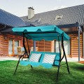 3 Seat Outdoor Patio Canopy Swing with Cushioned Steel Frame