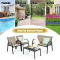 4 Pieces Patio Furniture Set with Glass Top Coffee Table