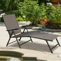2 Pieces Patio Furniture Adjustable Pool Chaise Lounge Chair Outdoor Recliner