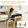 Children Activity Art Study Desk and Chair Set with Large Storage Space for Kids Homeschooling