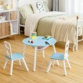 Wood Activity Kids Table and Chair Set with Center Mesh Storage for Snack Time and Homework