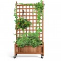 50 Inch Wood Planter Box with Trellis Mobile Raised Bed for Climbing Plant