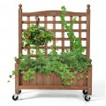 32in Wood Planter Box with Trellis Mobile Raised Bed for Climbing Plant