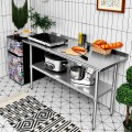 Stainless Steel Table for Prep and Work with Backsplash