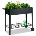 Elevated Planter Box on Wheels with Non-slip Legs and Storage Shelf