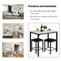 3 Pcs Counter Height Dining Set Faux Marble Table