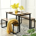 3-Piece Kitchen Dining Table Set with 2 Benches for Limited Space