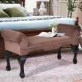 """45"""" Rolled Arms Upholstered Wood Leg Bench Seat Chair"""
