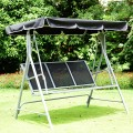 3 Person Patio Powder Finish Canopy Deck Swing Bench