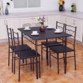 5 pcs Wood Metal Dining Table & 4 Chairs Set