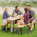 3 Pieches Folding Wooden Picnic Table Bench Set
