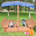Children Outdoor Retractable Sandbox  with Canopy Bench Seat