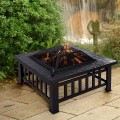 """Square Metal 32"""" Outdoor Stove BBQ Fire Pit"""