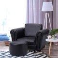 Kids Single Armrest Couch Sofa with Ottoman