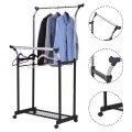 Double Adjustable Clothes Hanger with Shoe Rack