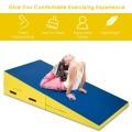 Folding Incline Mat Slope Cheese Gymnastics Gym Exercise Yellow
