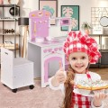2 in 1 Wood Kids Kitchen Pretend Play Set with Chair