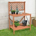 Folding Wood Potting Bench with Top Handing Bar and Hook