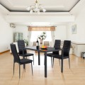 5 Pieces Metal Frame and Glass Tabletop Dining Set