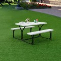 All Weather Outdoor Picnic Camping Patio Table Bench Set with Metal Base Wood for Backyard Poolside Dining Party Garden