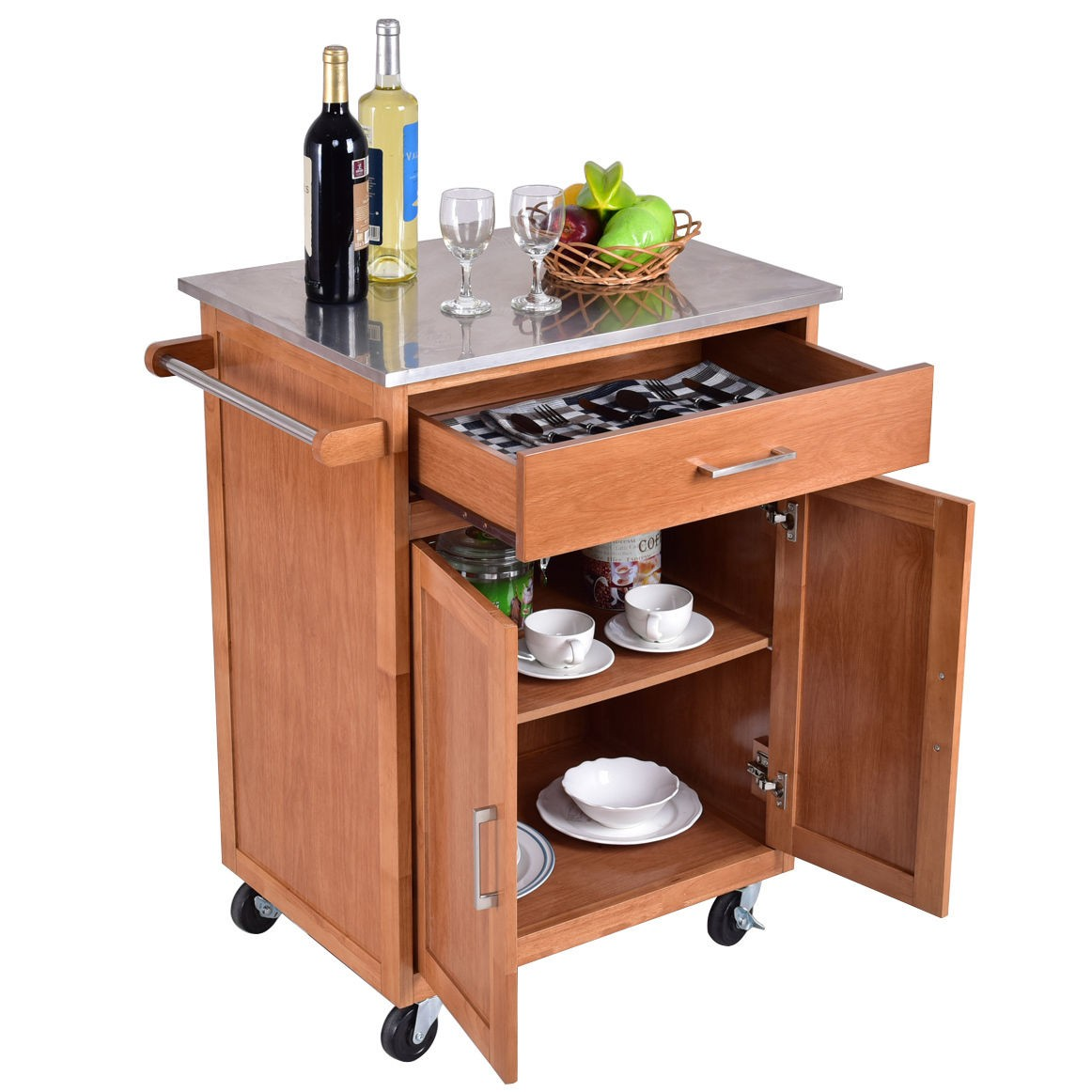 wooden kitchen rolling storage cabinet with stainless