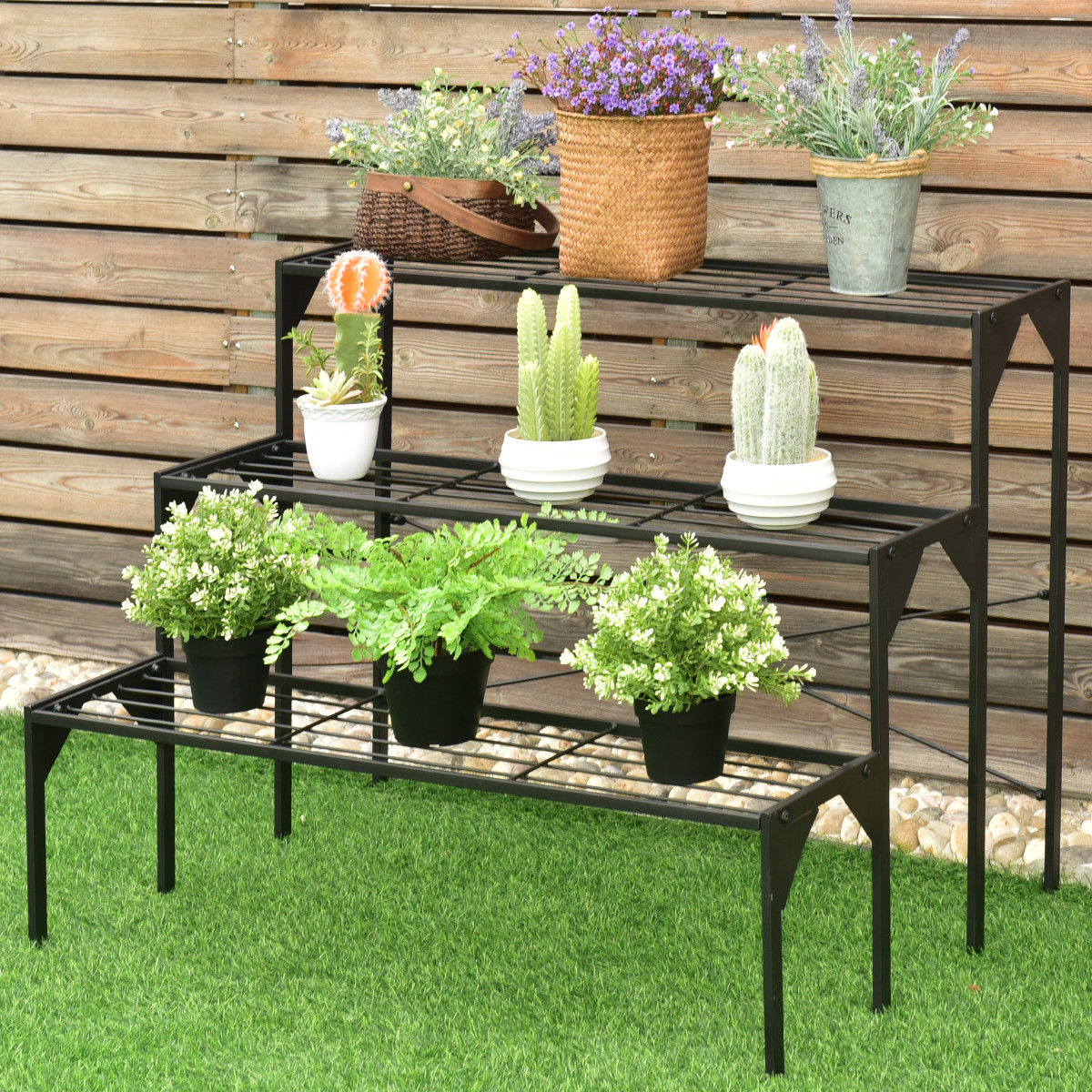 Image of 3 Tier Outdoor Metal Heavy Duty Modern for Multiple Plant Display Stand Rack
