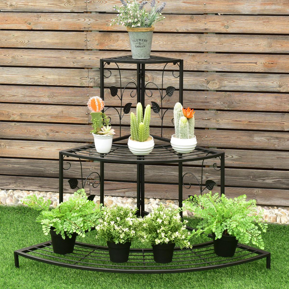 Image of 3 Tier Floral Corner Metal Plant Pot Rack