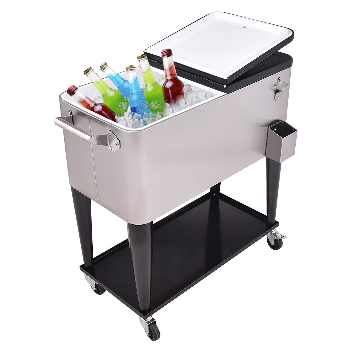 Image of 80 Quart Patio Rolling Stainless Steel Ice Beverage Cooler