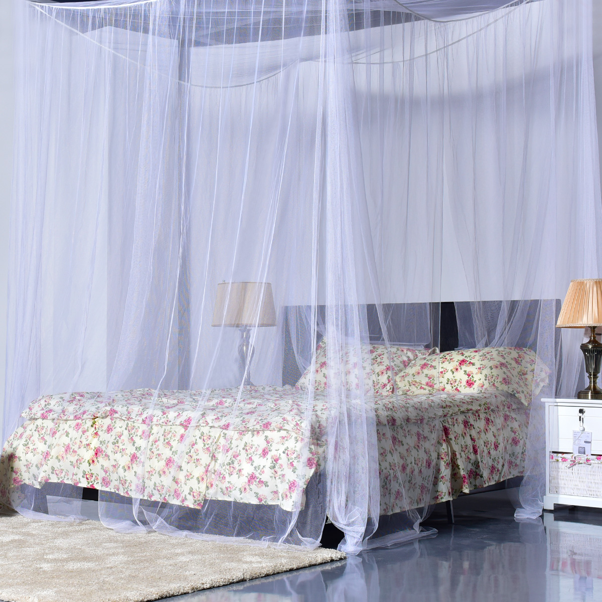 Image of 4 Corner Post Full Queen King Size Bed Mosquito Net