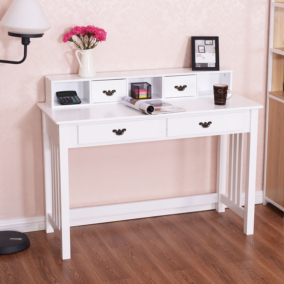 Image of Home Office Writing Mission Computer Desk with 4-Drawer