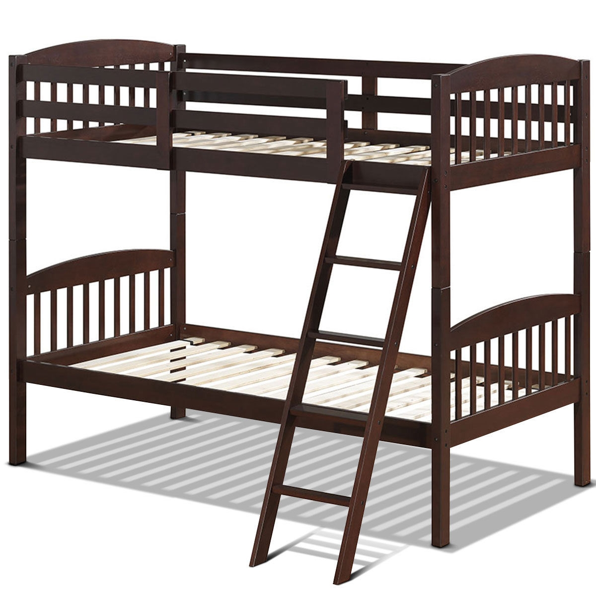 Image of Solid Wood Twin Bunk Beds with Detachable Ladder