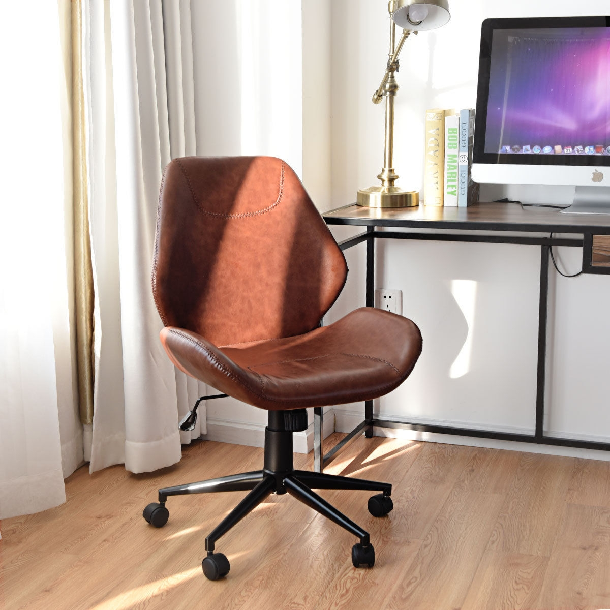 Image of Office Home Leisure Mid-Back Upholstered Rolling Chair