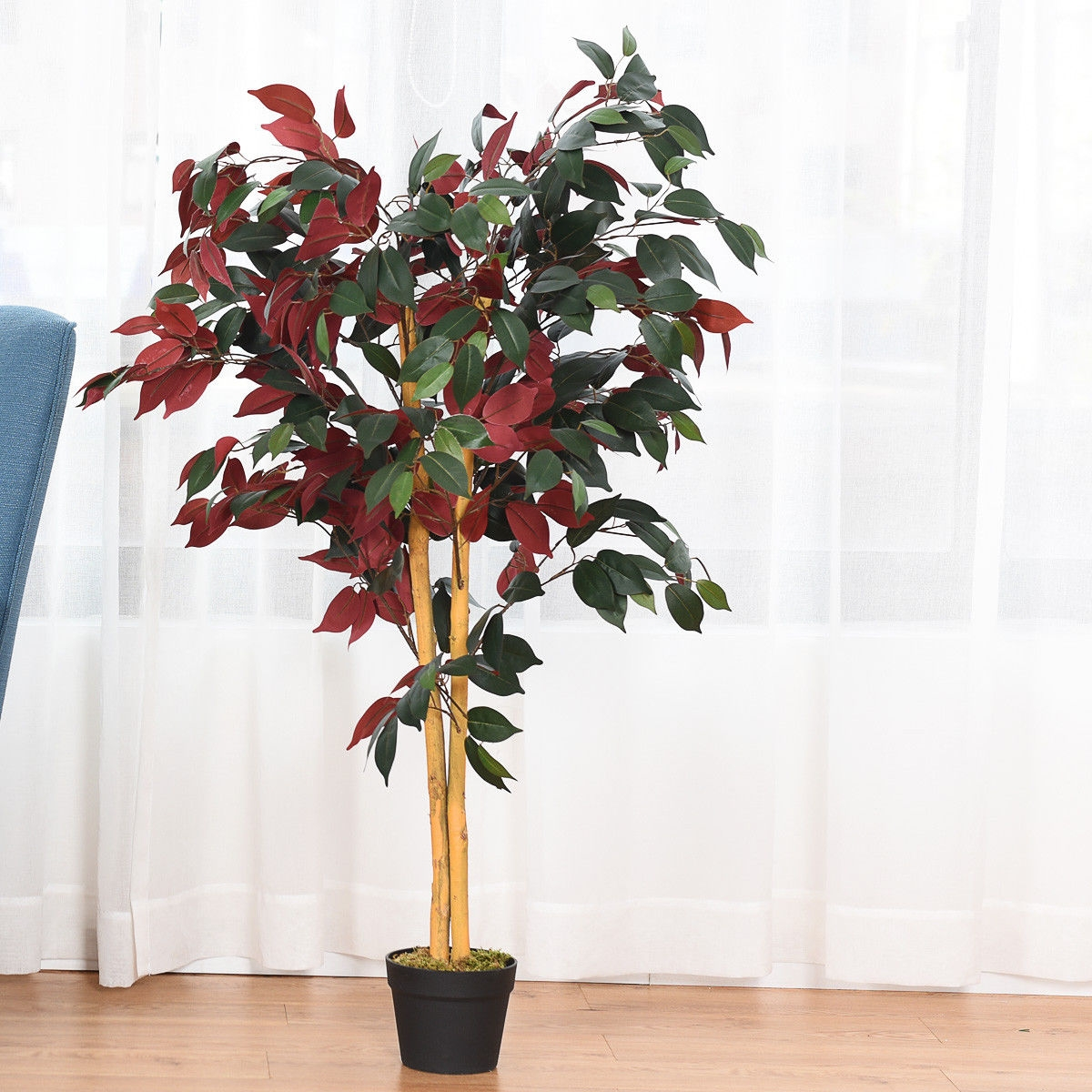 Image of 4-Feet Artificial Capensia Bush Indoor-Outdoor Leaves